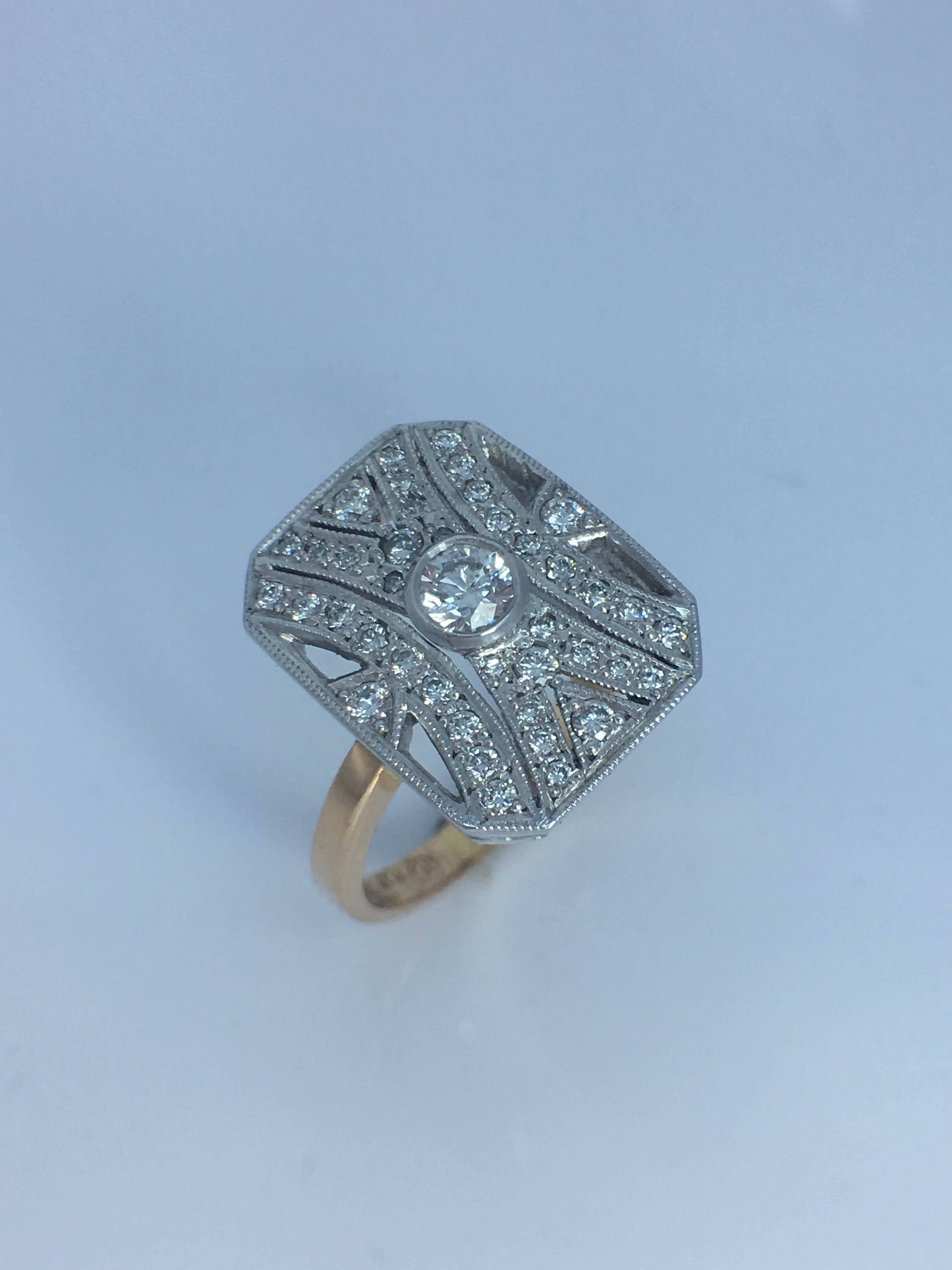 18ct two tone Art Deco Style Diamond Ring