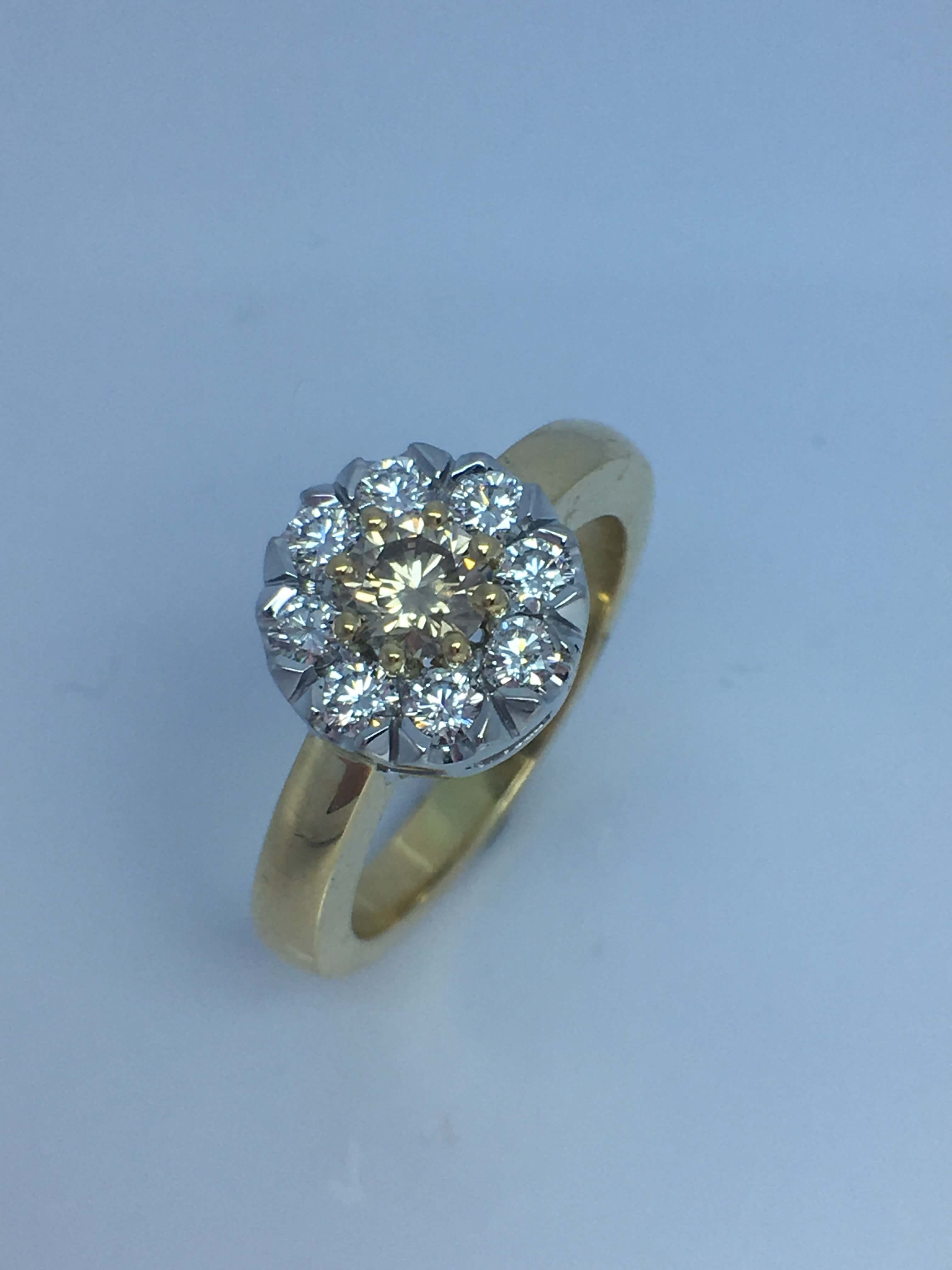 18ct two tone gold Colored Diamond cluster style ring.