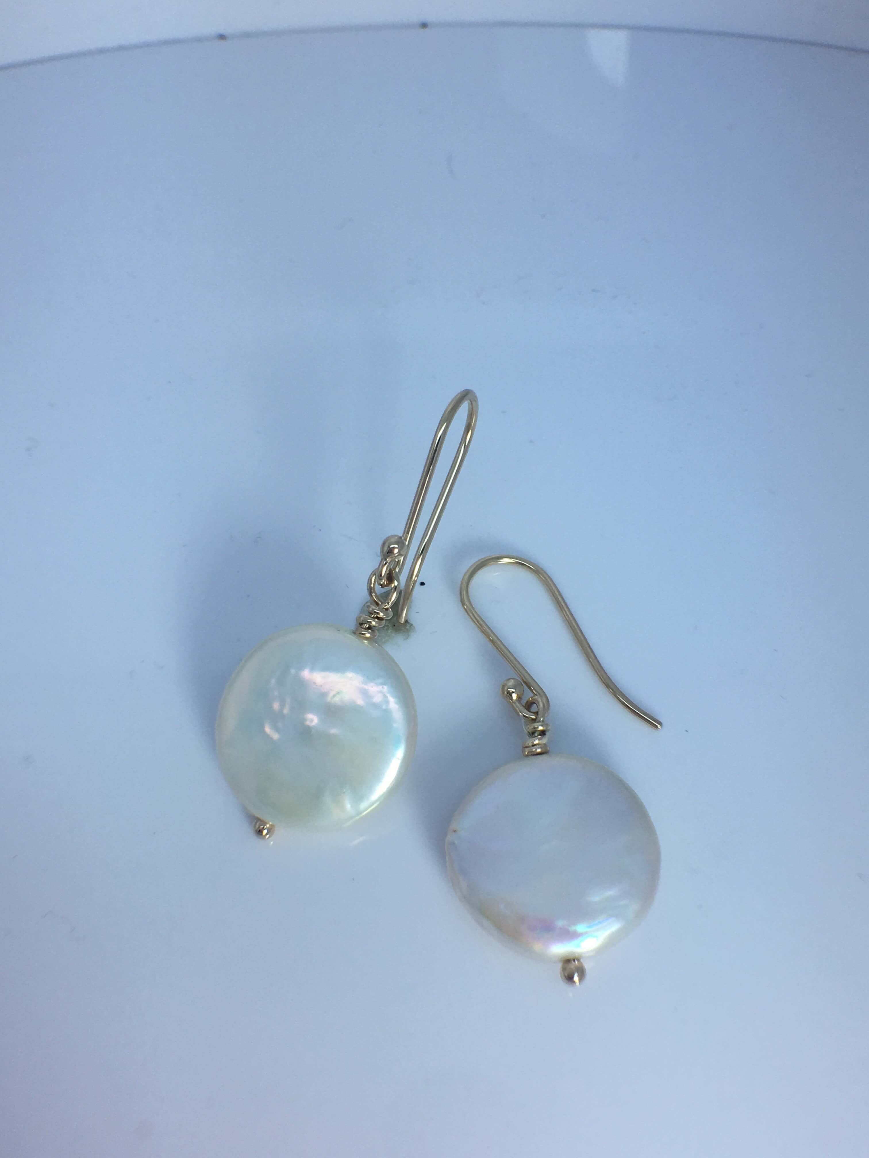9ct Yellow Gold Coin pearl hook earrings