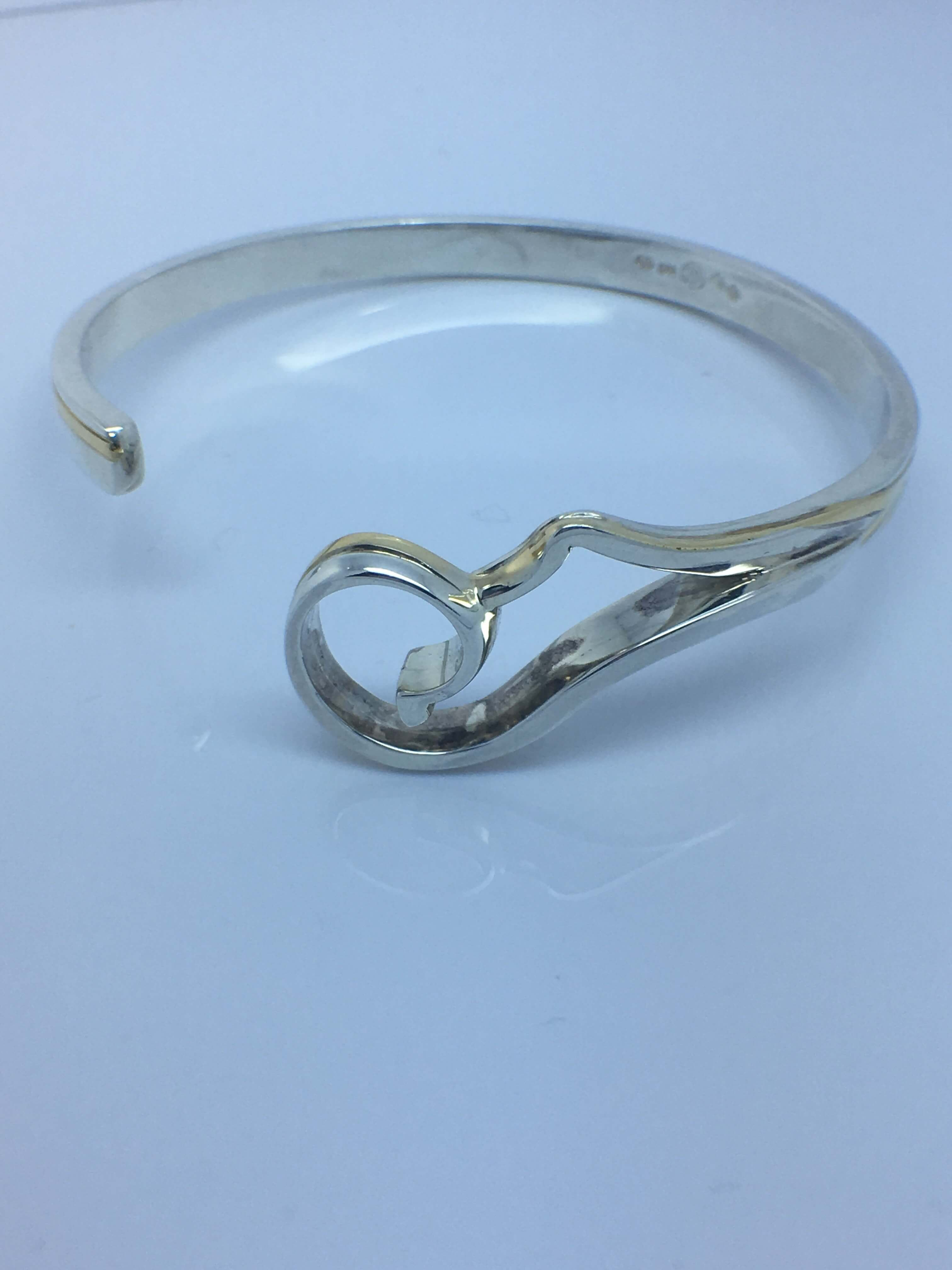 Sterling Silver _ 18ct Yellow Gold Cuff Bangle